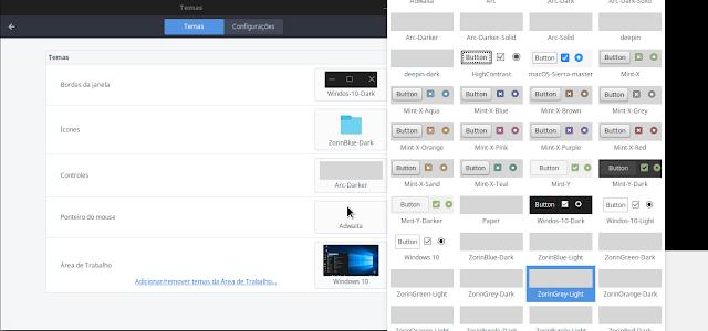 Exemplos de temas com ícones Zorin OS