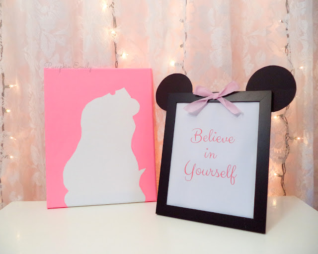DIY Silhouette Canvas and DIY Minnie Mouse Picture Frame