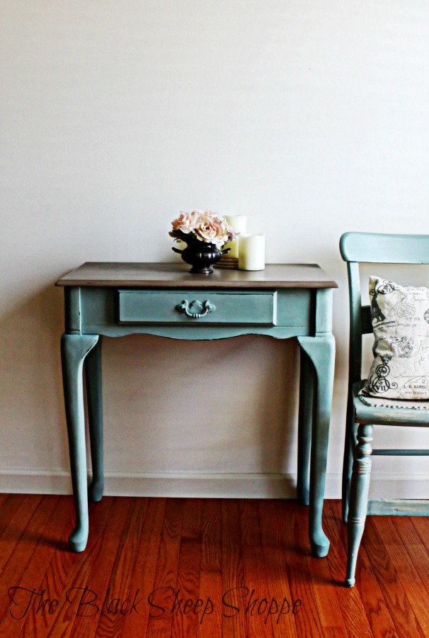 Old make up vanity painted in duck egg blue and coco.