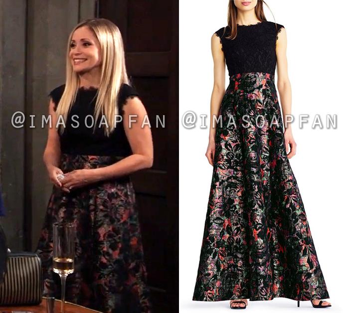 Lulu Spencer Falconeri, Emme Rylan, Multicolor Floral Jacquard Dress with Black Lace Bodice, General Hospital, GH