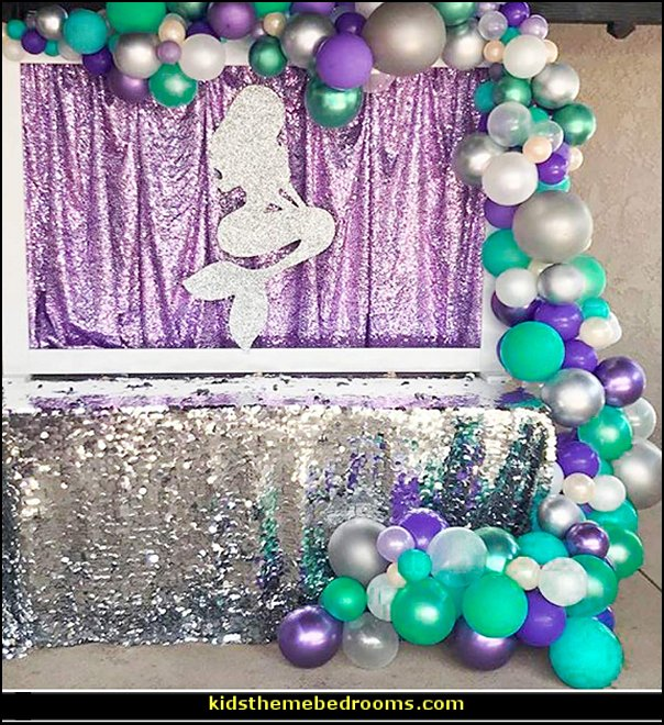 Purple Green and Silver Balloons  mermaid party decorations - mermaid party ideas - mermaid themed birthday party - ocean theme party decorations - under the sea party - little mermaid birthday party ideas - beach party - water theme parties - mermaid table decor - party props  under the sea birthday party - under the sea theme party table