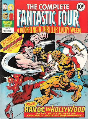The Complete Fantastic Four #19, Mahkizmo punches the Thing as Thundra watches on