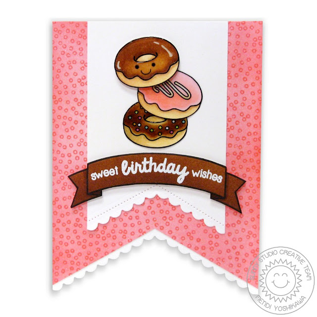 Sunny Studio Stamps: Fishtail Banners II & Sweet Shop Doughnut Birthday Card by Mendi Yoshikawa