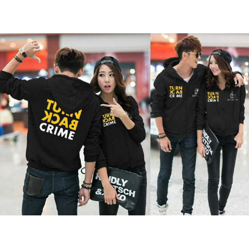 Jual Jacket Couple Jacket Couple Turn Back Crime Hitam - 23997