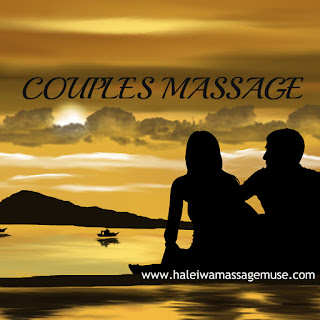 A woman and man sit on Hawaii beach and gaze at the horizon thinking about a couples massage