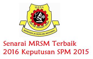Senarai MRSM Terbaik 2016