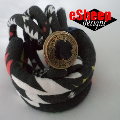 Fabric Covered Cord Bracelet crafted by eSheep Designs