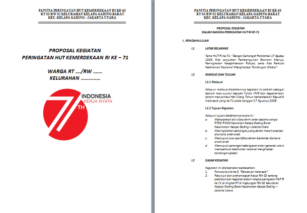 Contoh Proposal 17 Agustus HUT RI Ke 71 Format Microsoft Word
