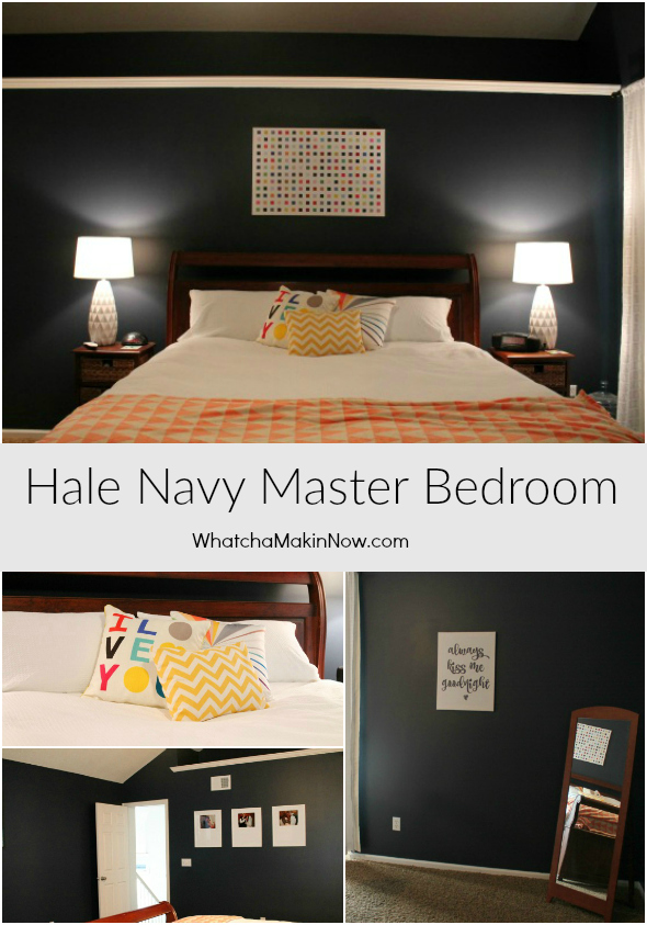 Hale Navy Master Bedroom - dark and moody, pops for color