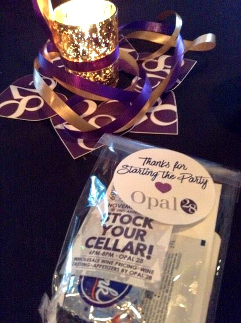 Opal 28 Birthday Bash swag bags. See more of the event at FizzyParty.com