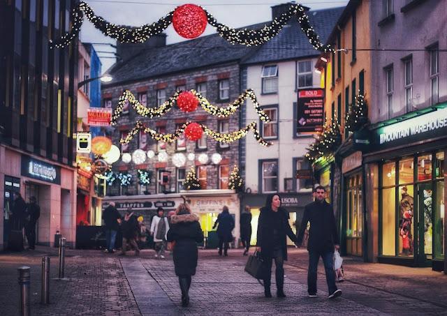 Galway city at night at Christmas