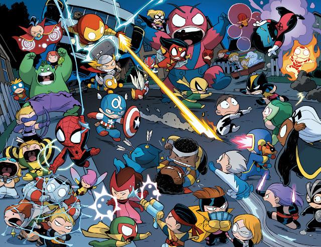Póster de Super Héroes contra Villanos Bebés para Imprimir Gratis.