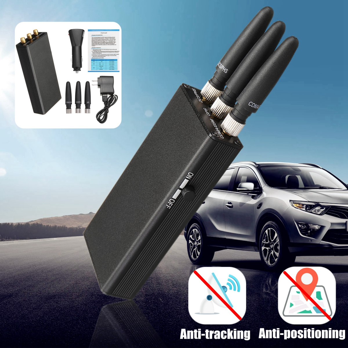 Handheld Car Gps Mobile Phone Signal Isolator Jammer Uq Mixed Shopping Art Bosch Headlight Relay Wiring Diagram Arduino Motor Shield