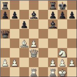 Partida de ajedrez F. J. Pérez - Manuel Golmayo, posición después de 17.Dd3