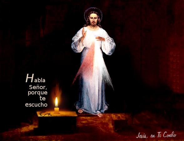 foto con oracion a Jesus Habla Señor, porque te escucho