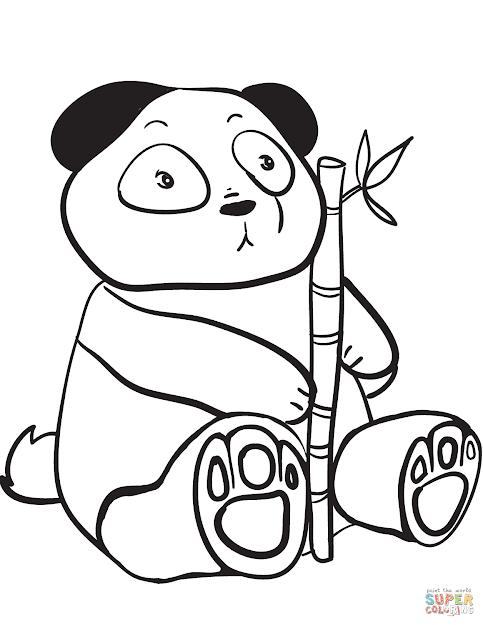 Cute Panda Holding Bamboo Branch