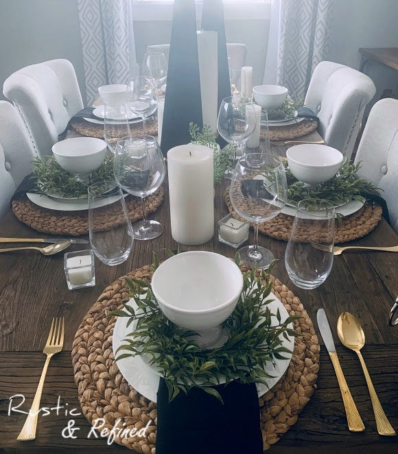 Black and white spring tablescape for any event or special occasion