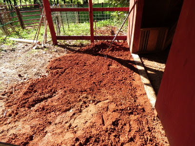 Rehoming the clay to reshape the slope under the goat barn overhang.