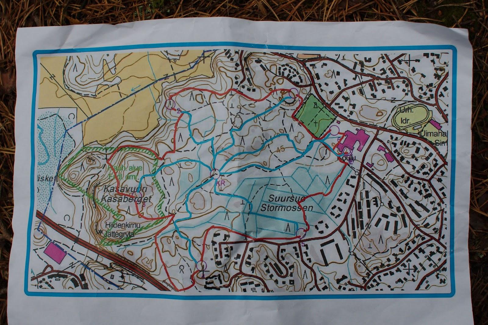 Kartta Kasavuoressa järjestetystä Pinkki-partiotaitokilpailusta