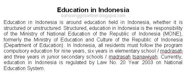 Artikel Bahasa Inggris Artikel Bahasa Inggris Tentang Pendidikan