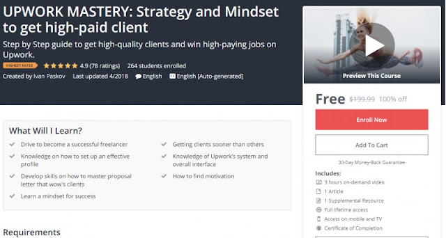 [100% Off] UPWORK MASTERY: Strategy and Mindset to get high-paid client| Worth 199,99$