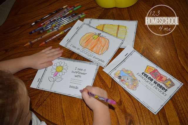 learn color words with free printable emergent reader for preschool, prek ,kindergarten