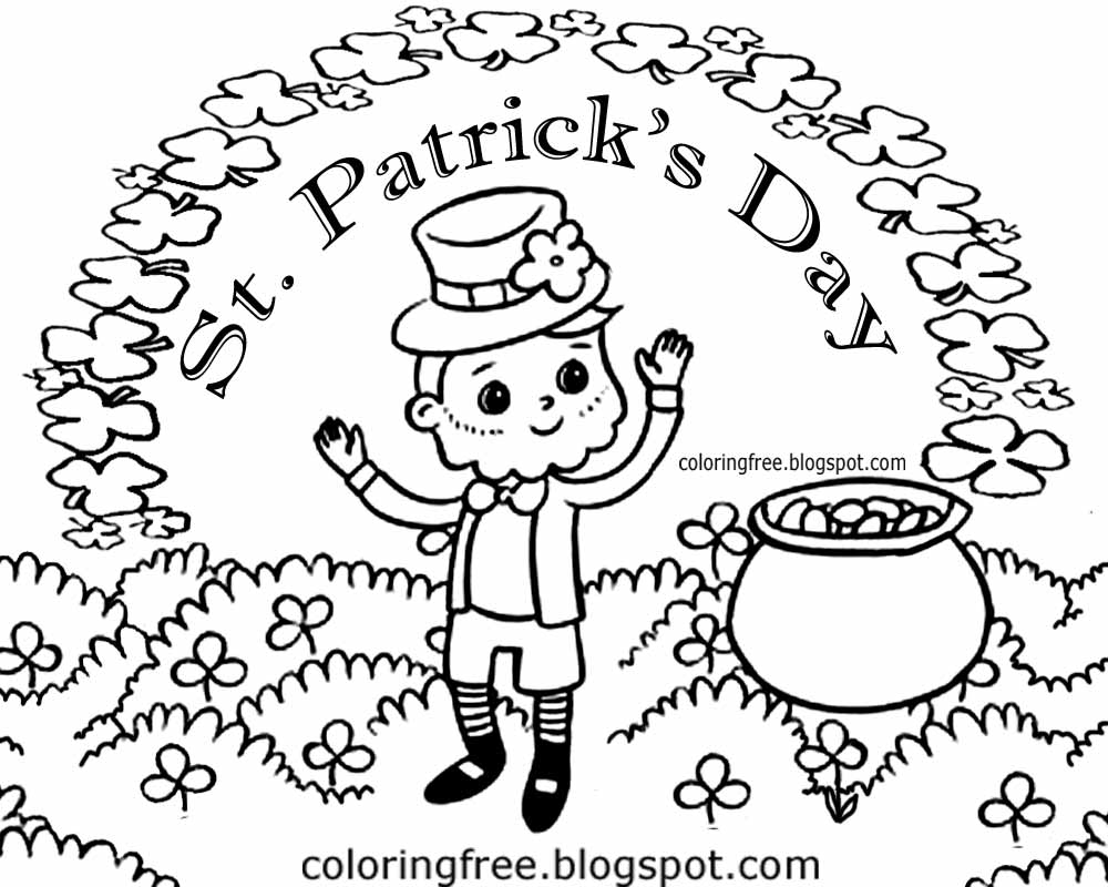 irish lucky clover cartoon picture saint patricks day printable colouring pages for kids to color