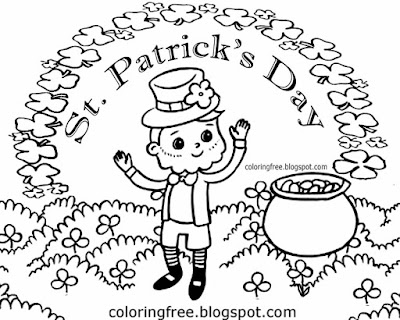 Irish lucky clover cartoon picture Saint Patrick's Day printable colouring pages for kids to color
