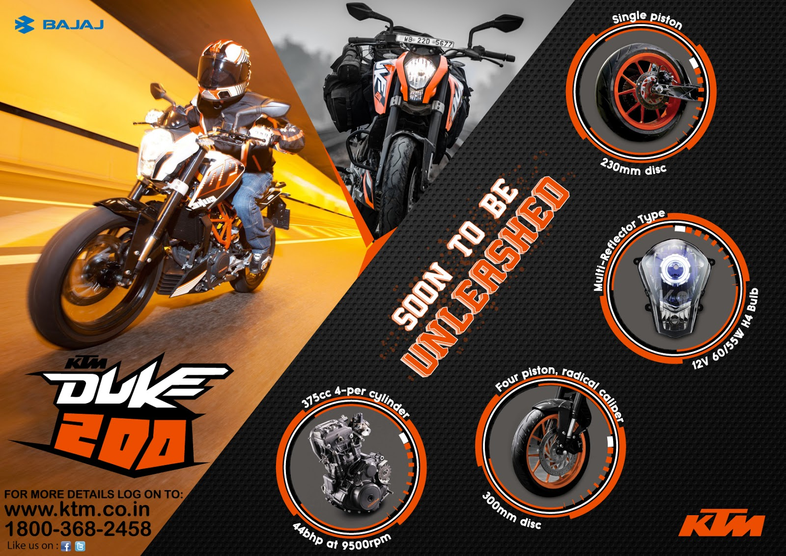 Brochure designing work of KTM DUKE 200.