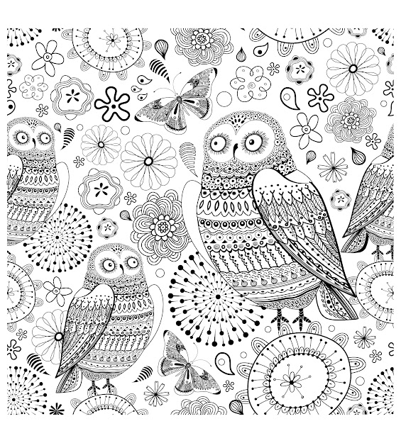 Difficult Owl Coloring Page Printable For Grown Ups Insects  Coloring  Pages For Adults
