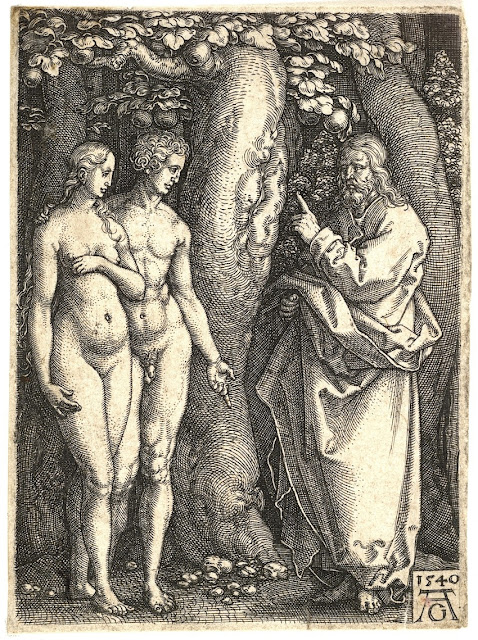 Heinrich Aldegrever - Dio proibisce di mangiare i frutti dell'albero della conoscenza