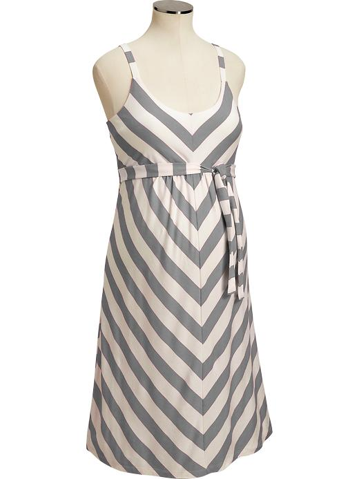 d23a1d509e5d5 Old Navy Maternity Chevron-Stripe Tank Dresses Old Navy Scoop neckline;  adjustable shoulder straps and gentle elastic in back Shirred empire waist  Tie back ...
