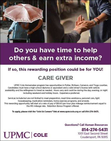 UPMC Cole Caregiver Opportunities