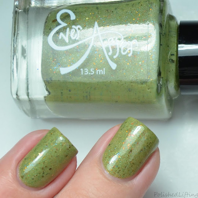 green flakie nail polish
