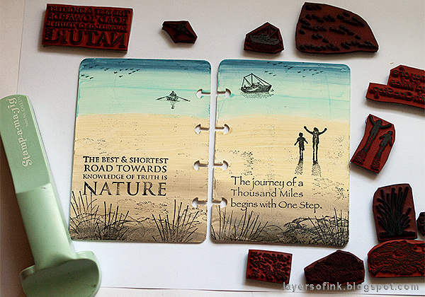 Layers of ink - Nautical Mini Album Tutorial by Anna-Karin Evaldsson with Stampscapes scenic stamps