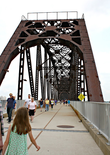 Crossing the Big Four Bridge on foot in Louisville, Kentucky