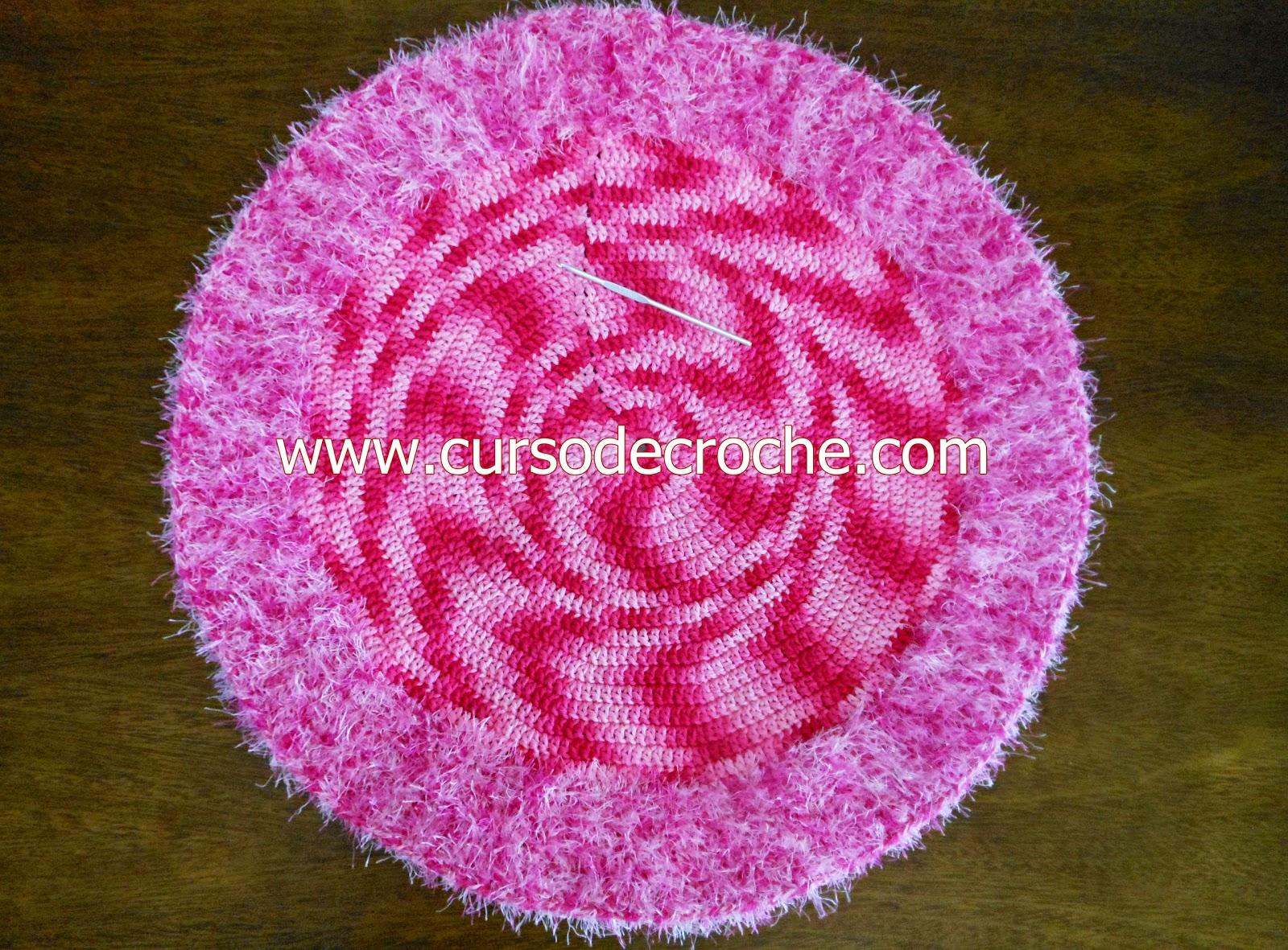 aprender croche tapete redondo rosa forte barroco decore flores dvd edinir-croche loja curso de croche frete gratis