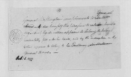 Nota del general Washington al general Howe