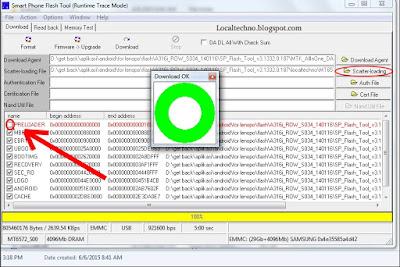 Tampilan SP Flashtool jika proses Flashing telah selesai
