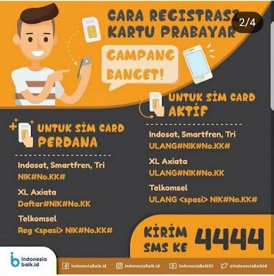 Panduan Cara Registrasi Baru / Registrasi Ulang Kartu Sim Seluler Prabayar Indosat, Smartfren, Tri, XL, Telkomsel Menggunakan NIK dan No KK