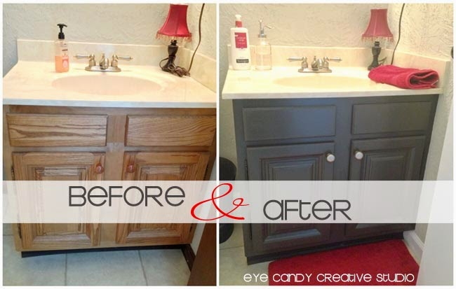 before & after photos of painted bathroom cabinets, oak to expresso cabinets