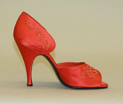 Red Satin footwear with beaded trim