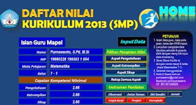 Format Daftar Nilai Siswa Excel SMP/MTs