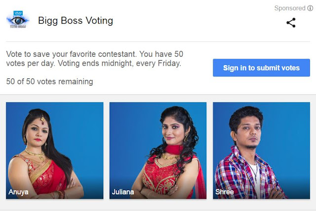 Bigg Boss Voting [TAMIL] 2017, See How to Vote on Google