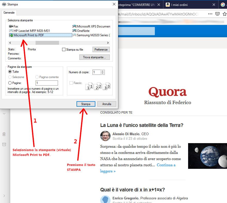 Selezione della stampa della mail Hotmail in Windows