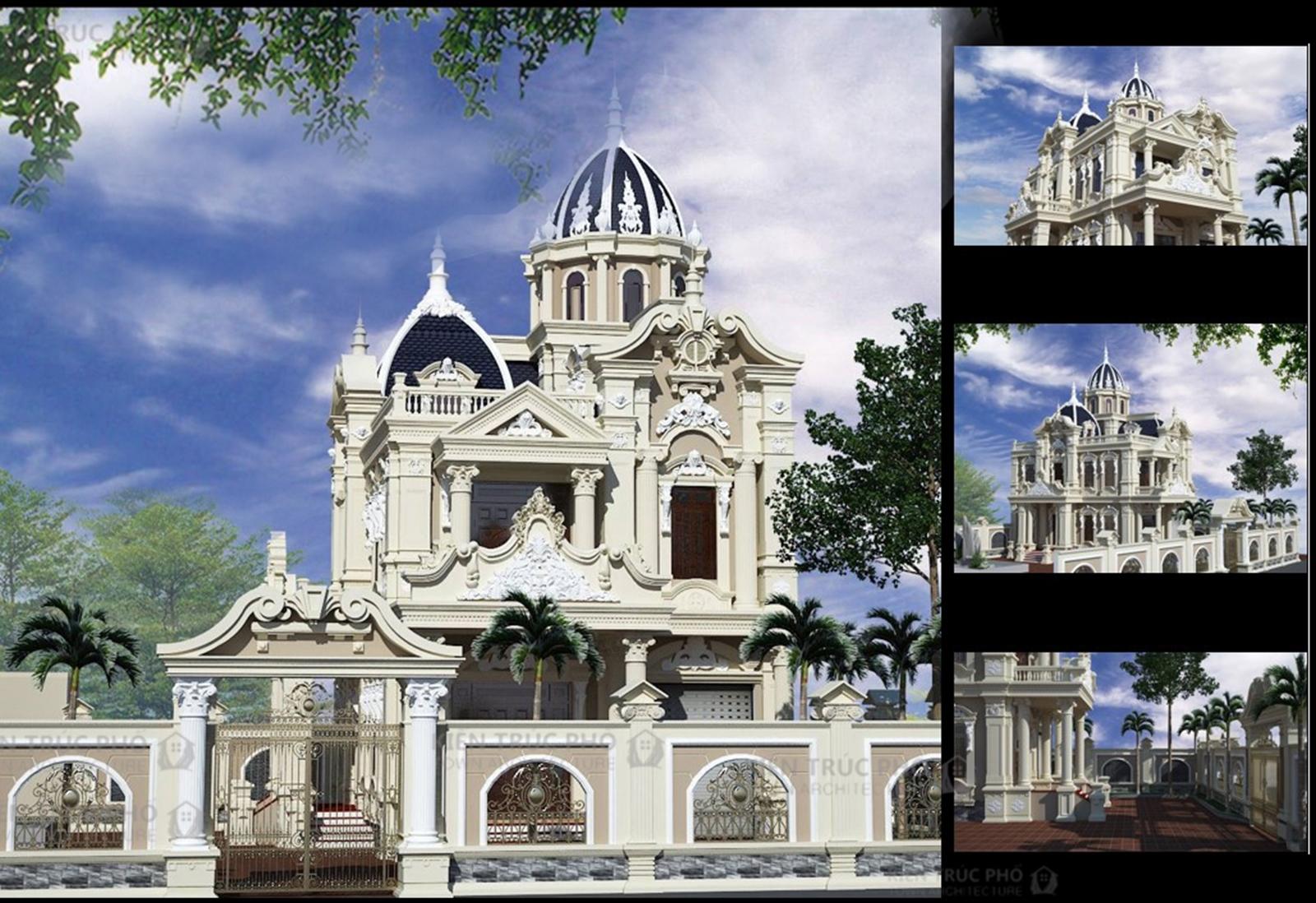 Các góc nhìn phối cảnh khác nhau của biệt thự lâu đài