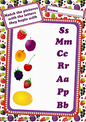 fruits berries matching pictures amongst corresponding missive of the alphabet worksheet