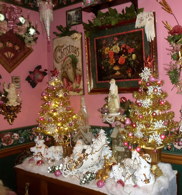 A Pink Christmas in the Dining Room, Part 2, Christmas Home Tour, 2017