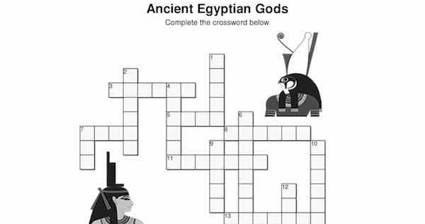 Kidsancientegypt Com Puzzle Gods Of Egypt Crossword